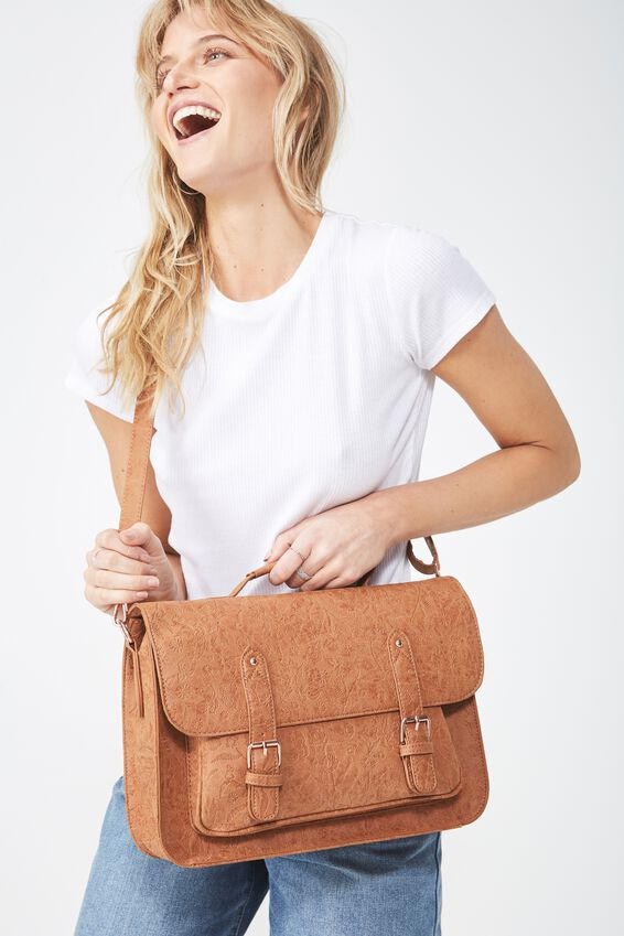 Satchel Bag, MID TAN FLORAL