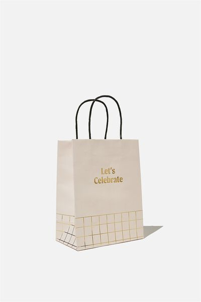 Get Stuffed Gift Bag - Small, LETS CELEBRATE ECRU