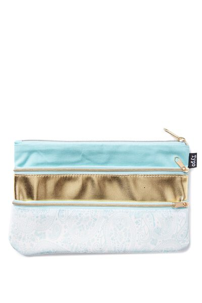 Double Archer Pencil Case, LACE BLUE GOLD