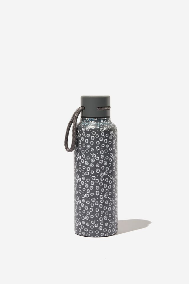 Boxed Metal Drink Bottle, STAMPED DAISY GREYSCALE