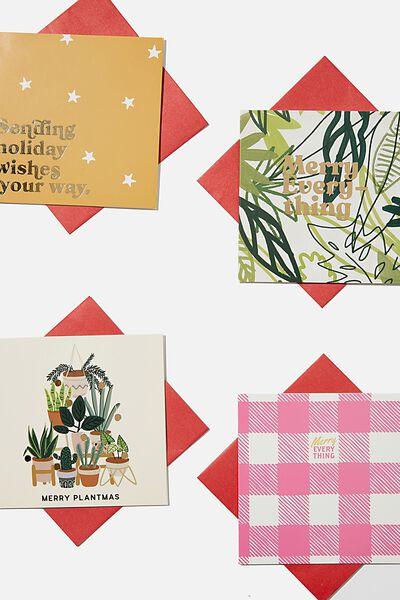 Christmas Card 20 Pack 2020, PLANTMAS GINGHAM
