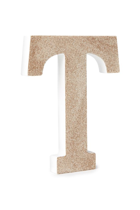 Glitter Letterpress Letter, PALE GOLD GLITTER T
