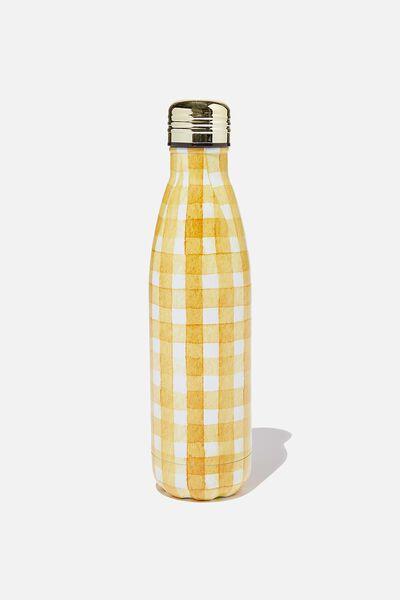 Metal Drink Bottle, MUSTARD GINGHAM