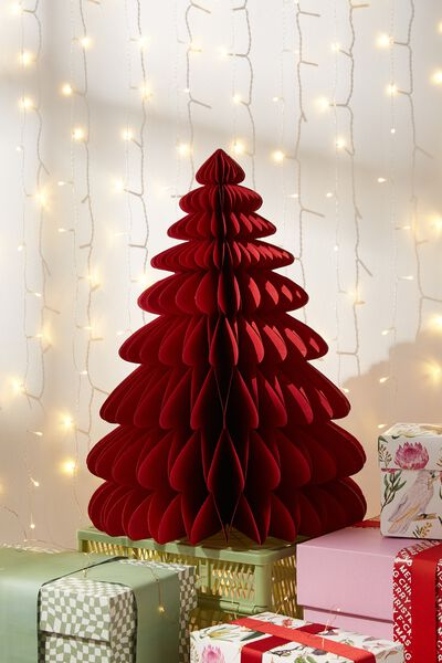 Paper Christmas Tree Large, TRUE RED