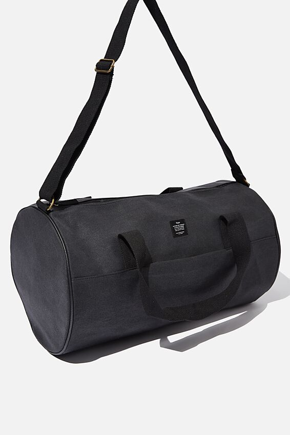 Canvas Barrel Bag, WASHED BLACK