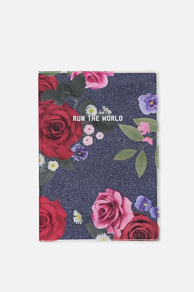 A5 Pvc Covered Notebook, NAVY FLORAL