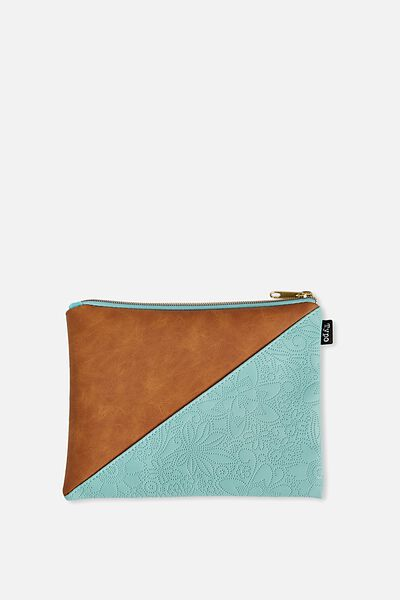 Riley Pencil Case, TAN BLUE EMBOSSED
