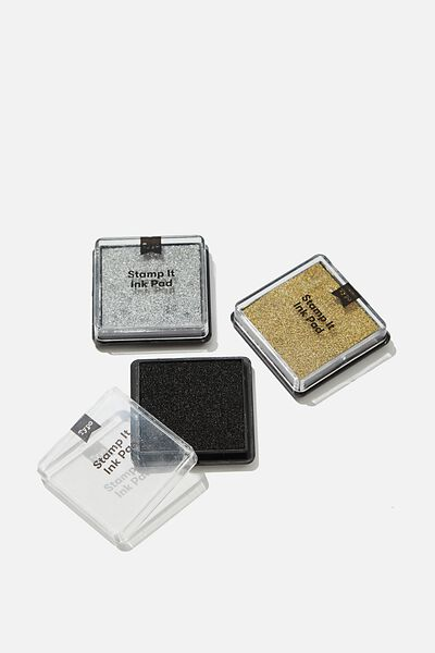 Stamp It Pad 3Pk, BLACK/SILVER/GOLD
