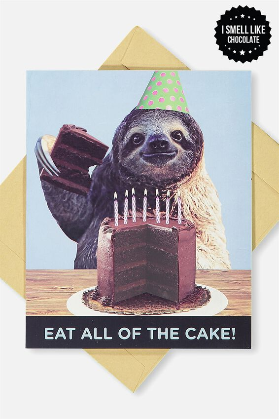 Premium Nice Birthday Card, SCENTED CAKE SLOTH