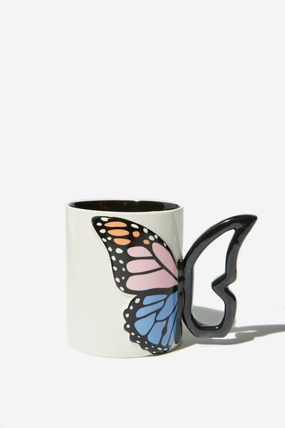 Novelty Shaped Mug, BLUE BUTTERFLY