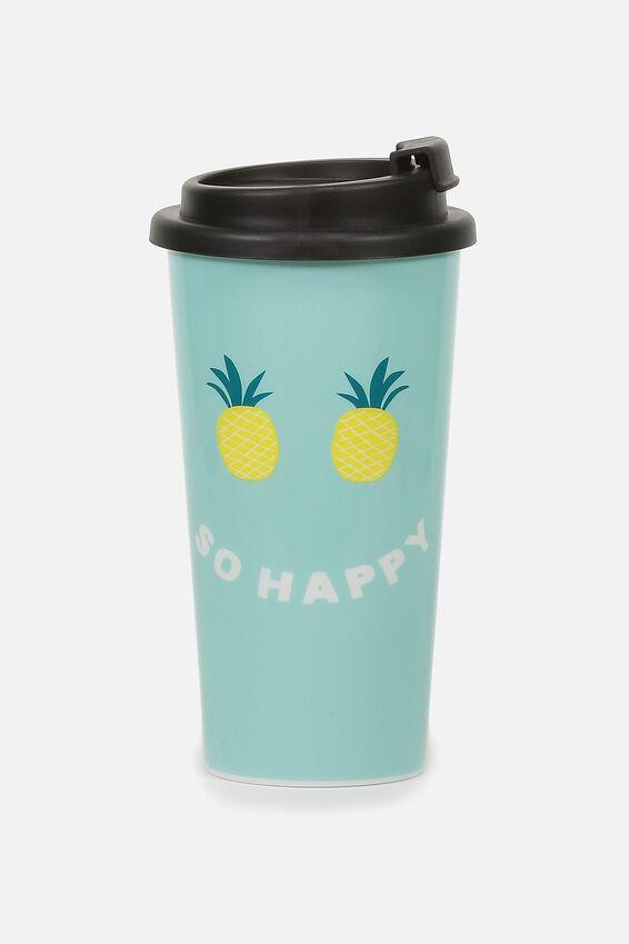 Printed Travel Mug, SO HAPPY PINEAPPLE