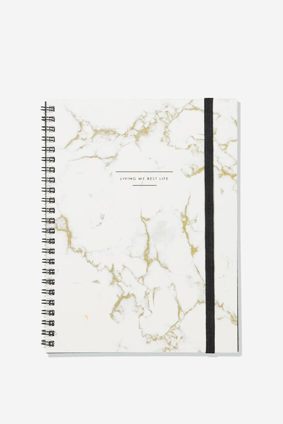 A5 Spinout Notebook - 120 Pages, MARBLE LIVING MY BEST LIFE