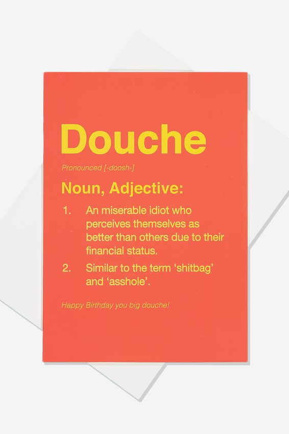 Funny Birthday Card, SMALL DOUCHE DEFINITION!