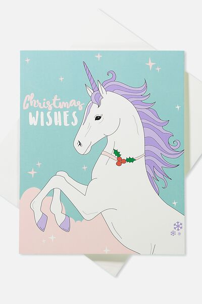 2018 Christmas Card, POP UP UNICORN BAD SANTA