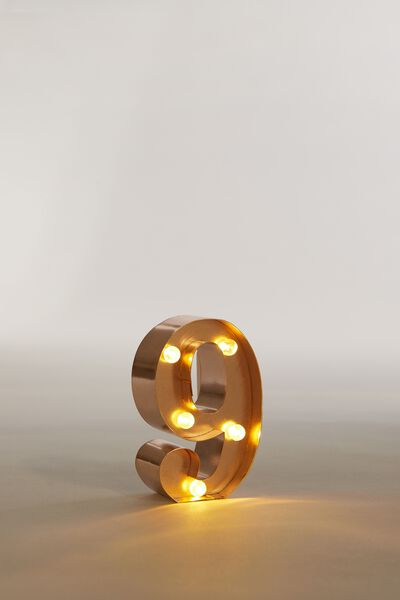 """Mini Marquee Letter Lights 3.9"""", ROSE GOLD NUMBER 9"""