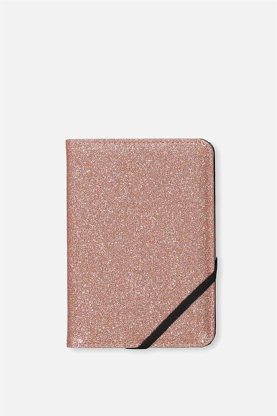 Passport Holder, ROSE GOLD GLITTER