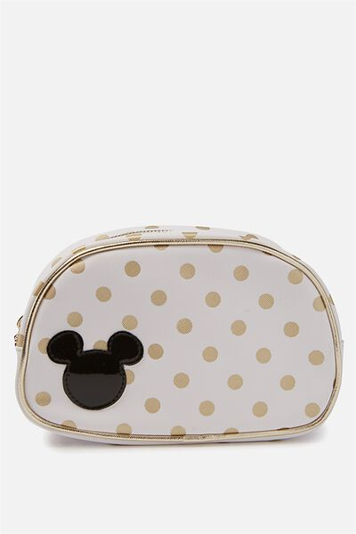 Fly High Cosmetic Case, LCN WHITE & GOLD POLKA