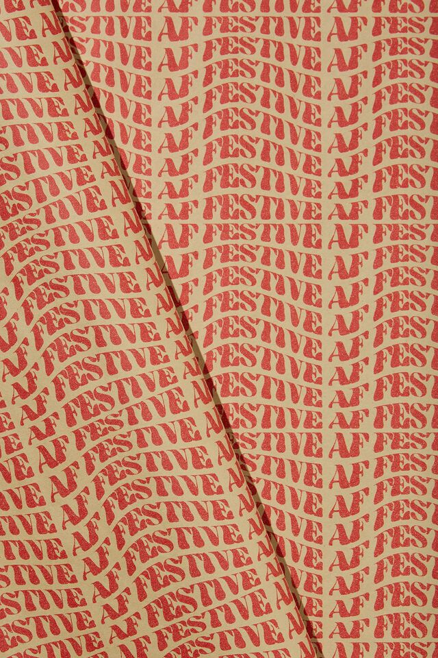 Wrapping Paper Roll, FESTIVE AF RED KRAFT!