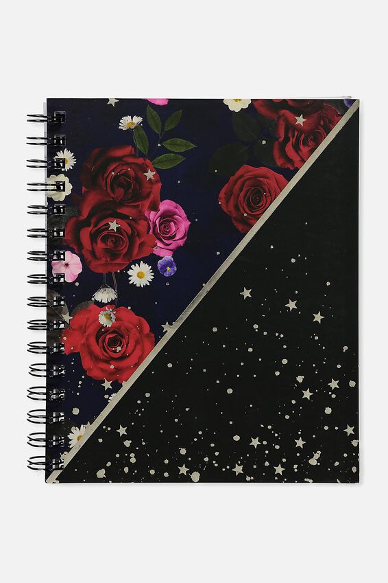 A5 Campus Notebook, NAVY FLORAL STAR SPLICE