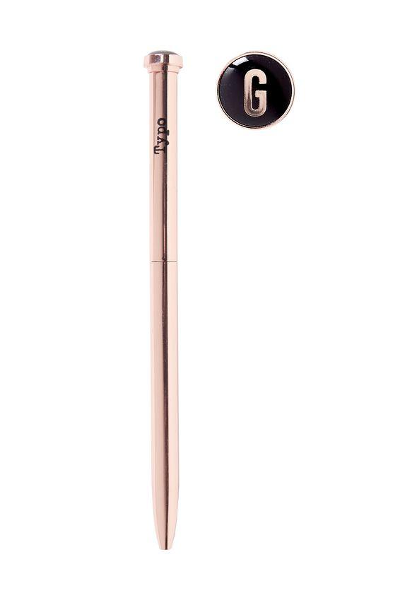 Initial Ballpoint Pen, ROSE GOLD G