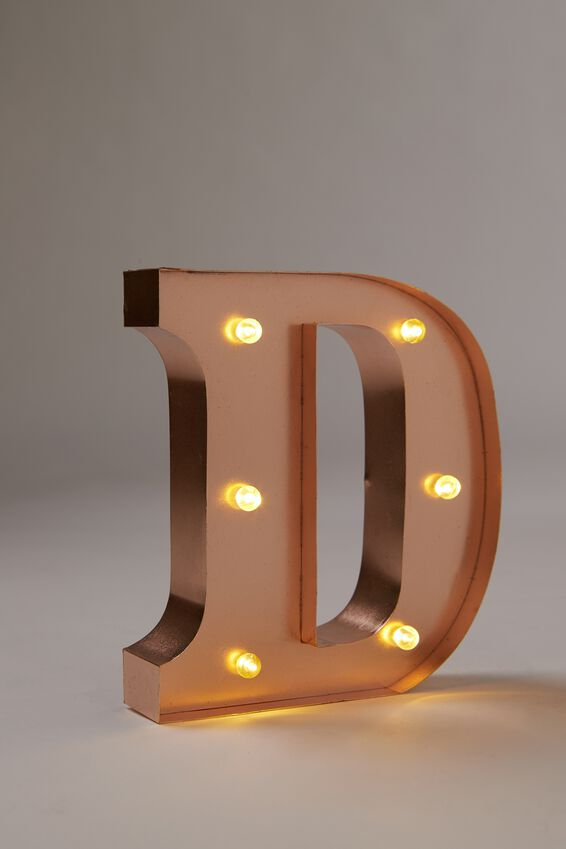 Marquee Letter Lights Premium 6.3inch Midi, ROSE GOLD D