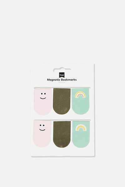 6Pk Magnetic Bookmark, FACES & RAINBOWS