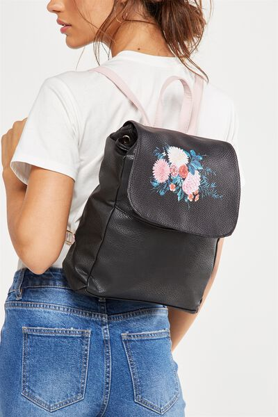 Fold Over Backpack, BLACK FLORAL