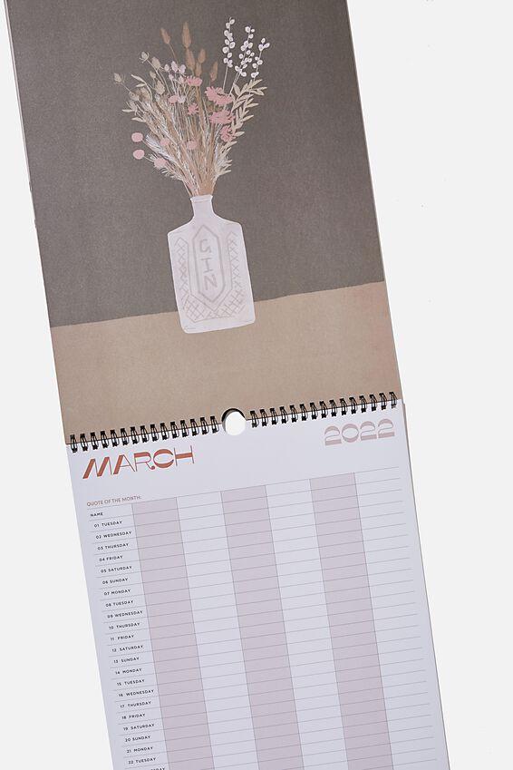 2021 22 Household Calendar, RUST FLORAL
