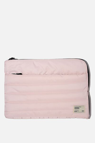 Utility Recycled 13 Inch Laptop Case, PALE PINK AND BLACK