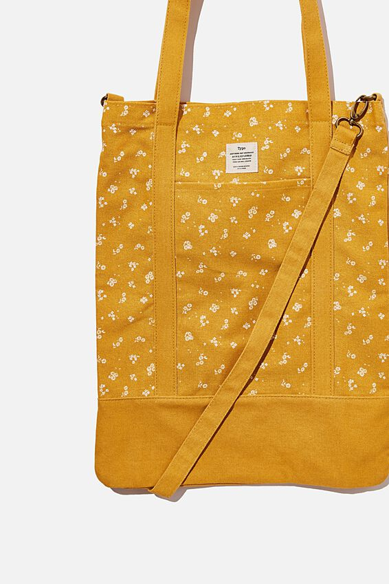 Book Tote Bag, DOTTIE FLORAL MUSTARD