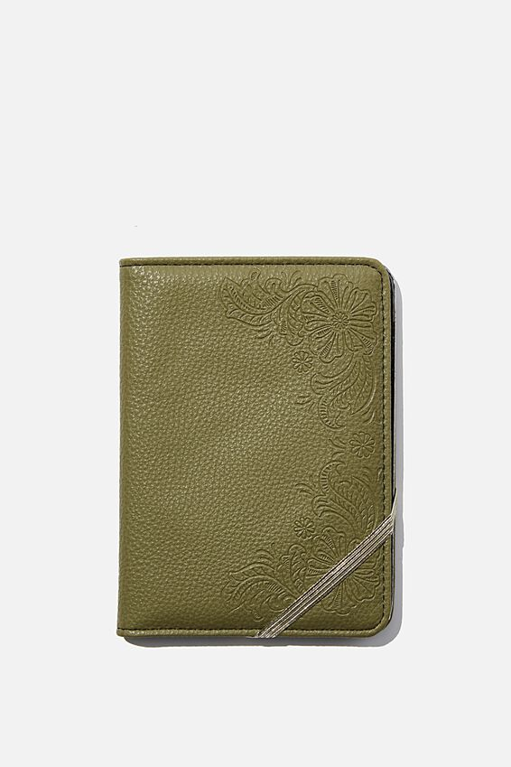 Rfid Passport Holder, KHAKI WITH FLORAL DETAIL