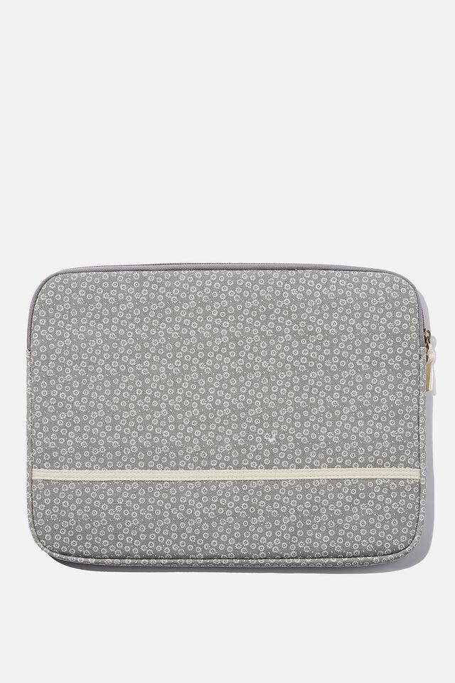 Take Me Away 15 Inch Laptop Case, STAMPED DAISY GREYSCALE