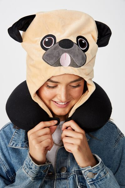 Travel Pillow With Hood, NOVELTY PUG