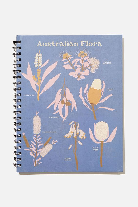 A4 Campus Notebook Recycled, RG AU AUSTRALIAN FLORAL