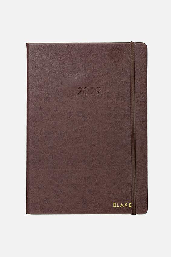 Personalised 2019 A4 Weekly Buffalo Diary, VINTAGE TAN