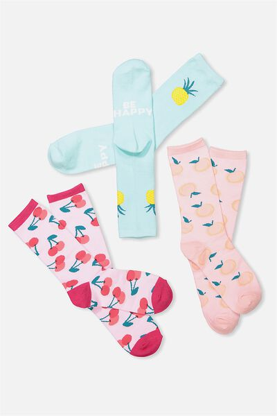 Womens Novelty Sock Set, FRUIT