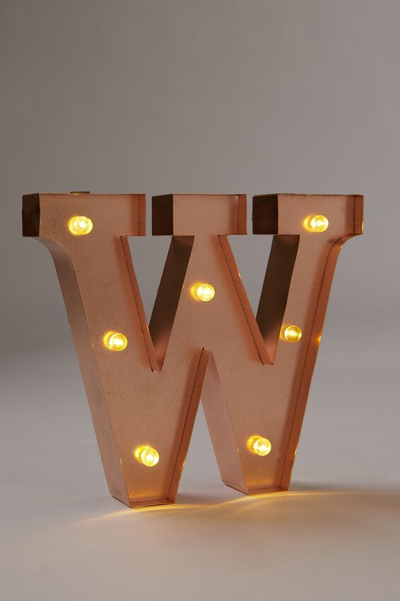 Marquee Letter Lights Premium 16cm Midi, ROSE GOLD W