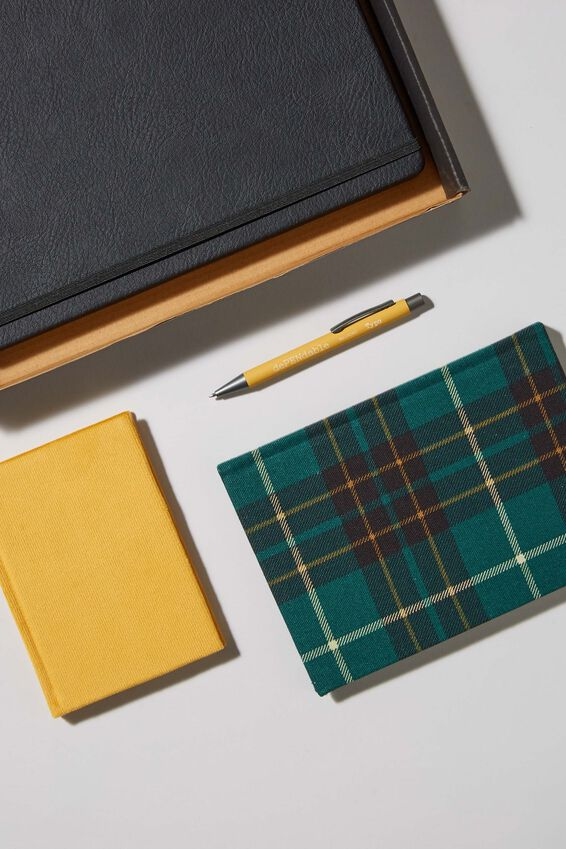 Premium Notebook Gift Set, GREEN MUSTARD CHECK