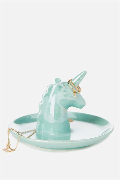 Novelty Trinket Tray, UNICORN HEAD BLUE