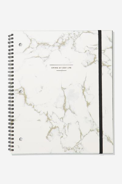 College Ruled Spinout Notebook V, MARBLE LIVING MY BEST LIFE