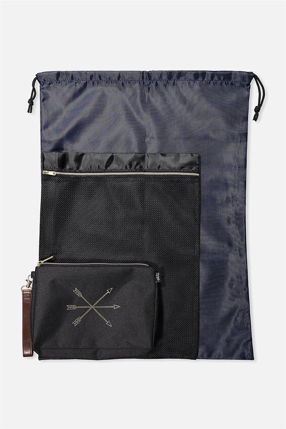 3 Pc Travel Organizer Bags, BLACK ARROWS