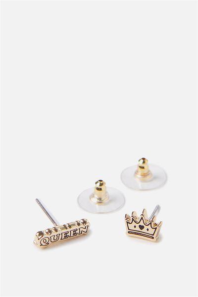 Novelty Earrings, QUEEN