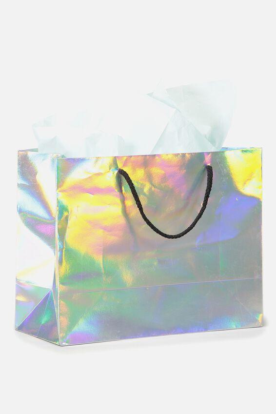 Medium Gift Bag with Tissue Paper, IRIDESCENT