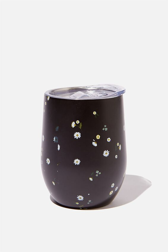 Metal Travel Tumbler, DAISY MEADOWS BLACK