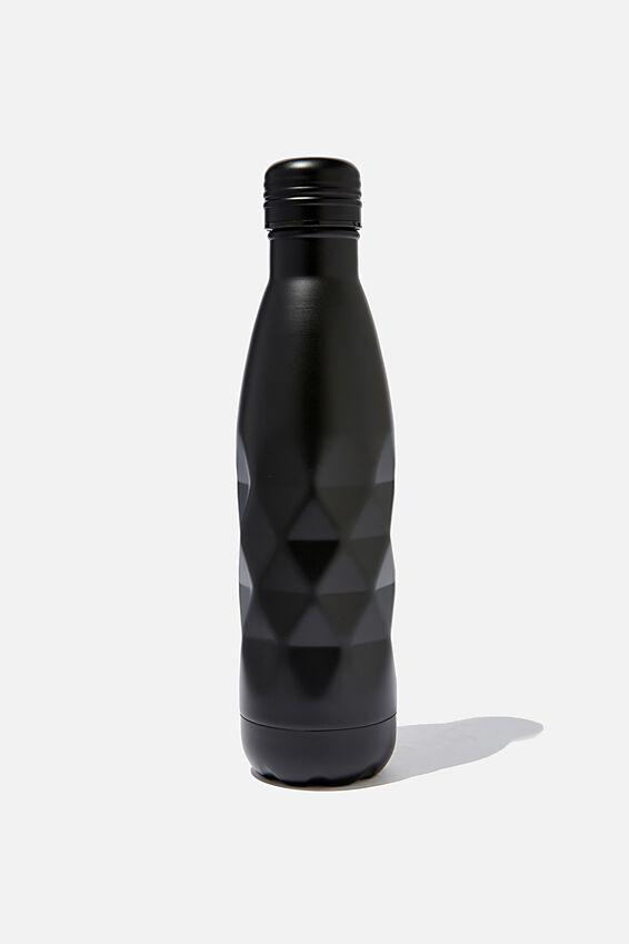 Premium Metal Drink Bottle, MATTE BLACK FACETED