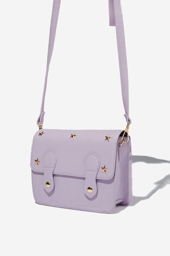 Mini Buffalo Satchel Bag, LILAC STUDS