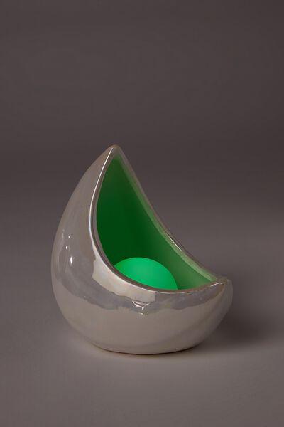 Mini Ceramic Novelty Light, IRIDESCENT CRESCENT MOON