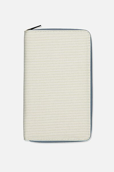 Rfid Odyssey Travel Compendium Wallet, LIGHT GREY NEUTRAL STRIPES