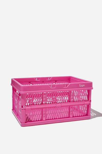 Midi Foldable Storage Crate, MAGENTA