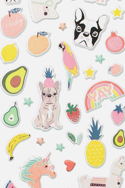 Puffy Sticker Pack, FRUITY ANIMALS